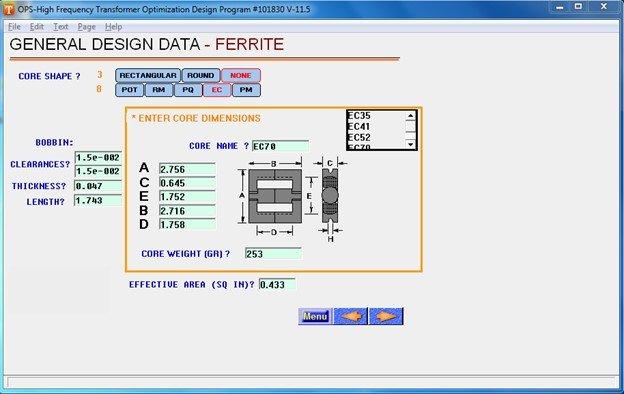 single phase ferrite core design